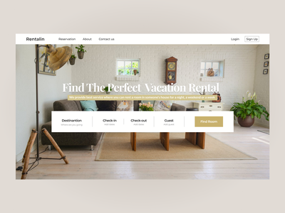 Rent House Website vacation rent clean ui uidesign landing page typography minimal design clean ux ui