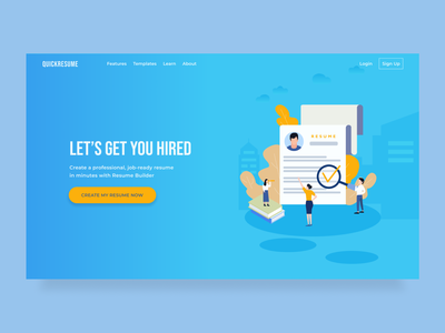 Resume Builder Website resume builder resume minimalist design clean ui illustration landing page clean ux ui