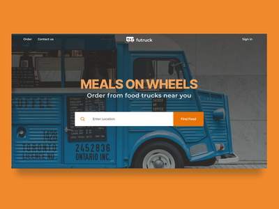 Food Truck Delivery Service food delivery delivery food truck food minimalist webdesign uidaily uidailychallenge landing page design ux ui