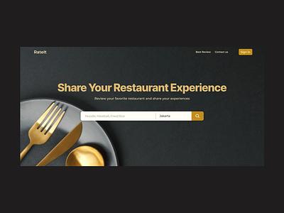 Review Platform for Restaurants hero gold black review food restaurant clean ui website webdesign uidaily landing page