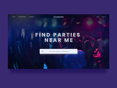 Crowdparties | Parties Finder nightlife nightclub night parties party dark minimalist webdesign uidailychallenge clean ui clean landing page ux ui