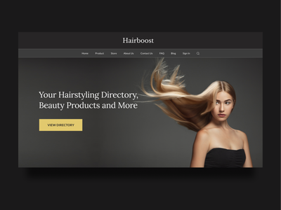 Hairstyling and Beauty Products Website beauty product hair hairstyle dark gold woman beauty website clean ui minimalist webdesign landing page ux ui