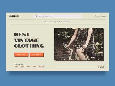 Vintage Clothing Shop thrift clothing shop minimalist clean vintage retro visual design ux webdesign website web uiux ui