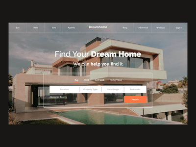 Dream Homes Finder Website dream home home house minimalist webdesign clean landing page ux ui