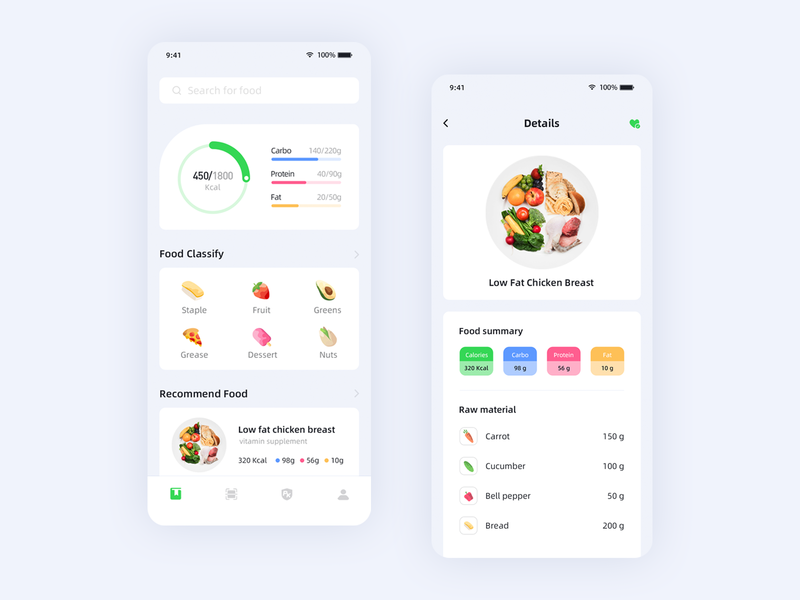 Food data gradient ux ui 插图 app food data