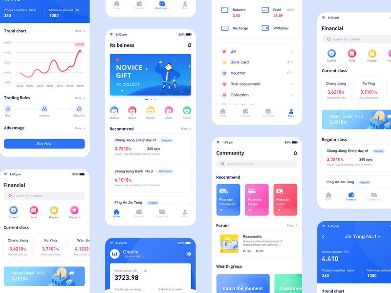 Financial app 02 typography ui logo 概念 design 插图 cool colors blue app
