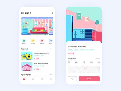 Rent a house app ux branding ui 概念 cool colors logo design 插图 app rent a house app rent a house app