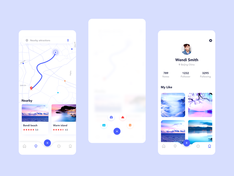 Travel app 01 ui ux vector cool colors 插图 branding 设计 blue travel app app