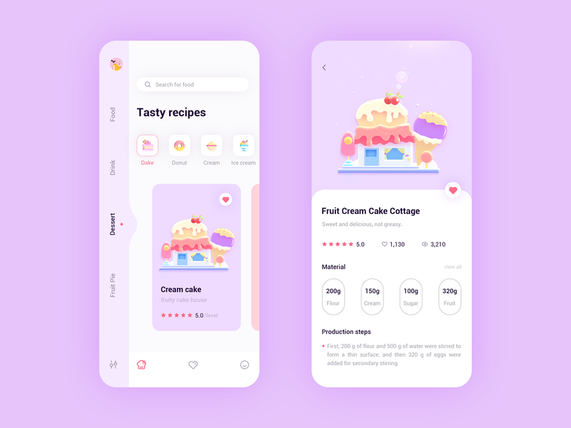 Cooking recipe app 概念 logo design cool colors 插图 app