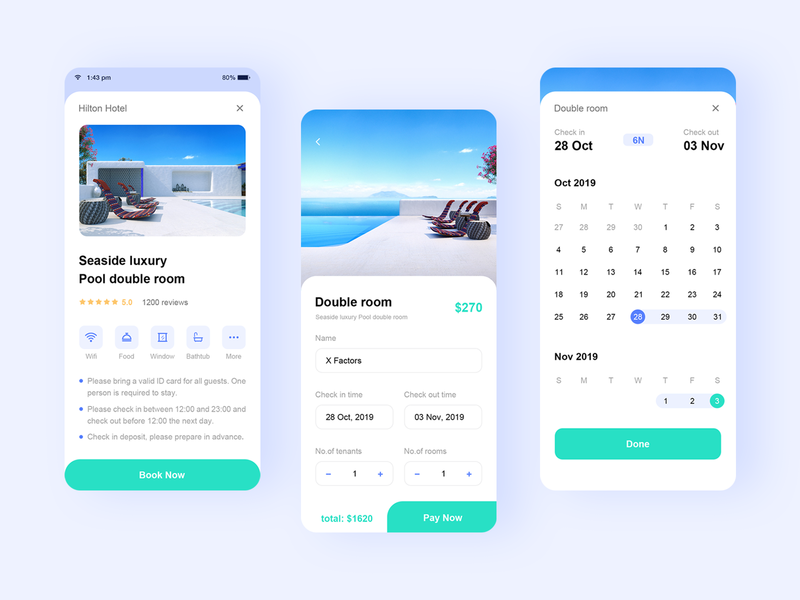 Hotel reservation app ux ui illustration gradient design blue icon 插图 hotel reservation app hotel reservation app