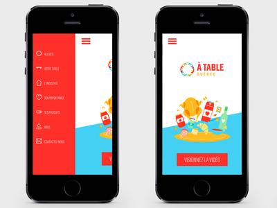 ATQC // Mobile app landing list menu burger design ui ux mobile