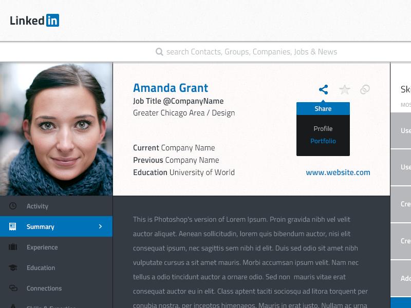 Linkedin Profile Redesign by Michael Musgjerd | Dribbble | Dribbble