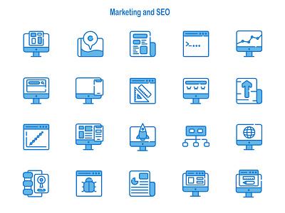 Marketing and SEO iconography dribbble illustration affinitydesigner