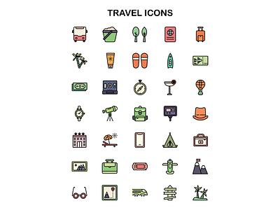 Travel icons iconset iconography vector affinitydesigner adobe illustrator cc design dribbble illustration