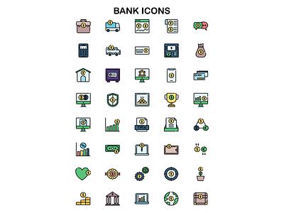 Bank Icons icons pack bank icon ui affinitydesigner illustration web design line icons icons iconset