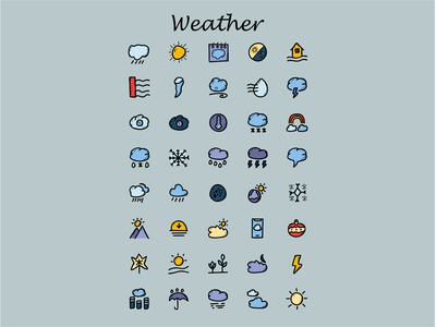 Weather Icons iconset handdrawn handdrawn illustration iconography vector affinitydesigner adobe illustrator cc design dribbble illustration