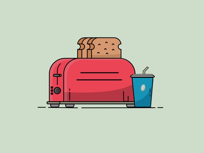 Toaster illustration design vector flat dribbble adobe illustrator cc