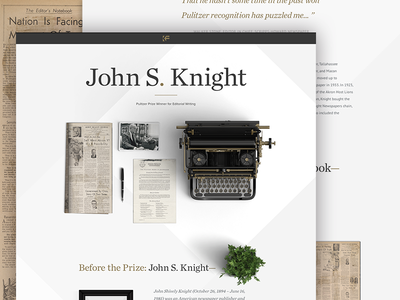 Pulitzer Winner Page plant type gold one page photography typography clean geometric