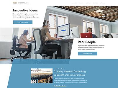 Crossroads Redesign asymmetric pattern pr marketing site landing page homepage ui