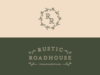 Rustic Roadhouse Branding leaves vine food truck food monogram logomark logotype logo branding