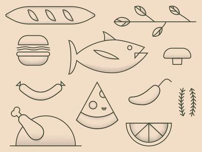 Rustic Roadhouse Illustrations bread lime food fish illo branding illustration