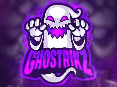 GHOSTRIKZ blue pink purple esportlogo esports ghost angry mascot adorable procreate logo chibi artwork cute character illustration