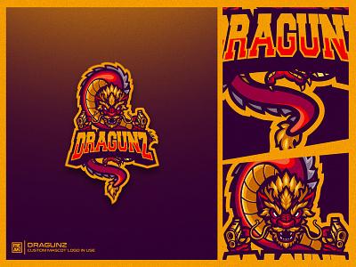 DRAGUNZ mascot logo logotype logo design youtube logo twitch logo esportslogo mascotlogo esports dragon mascot logo