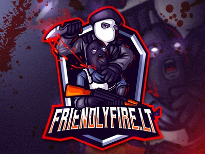 FRIENDLYFIRE.LT ESPORTS LOGO graphic design design gaming logo gamer gaminglogo gaming mascot character mascot design mascotlogo esportslogo esportlogo angry esports artwork procreate mascot logo character illustration
