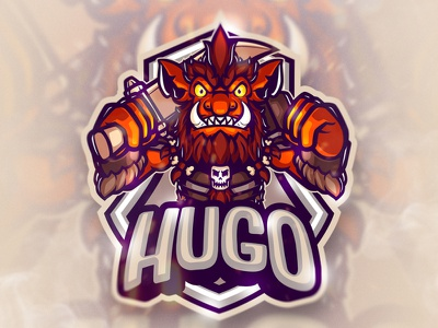 HUGO ESPORTS LOGO character design design graphic design gaminglogo gamer gaming esport logo esport mascotlogo esportlogo angry esports artwork procreate mascot logo character illustration