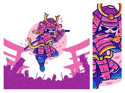 Samurai illustration character cute pink katana ninja sakura japan warrior ronnin samurai