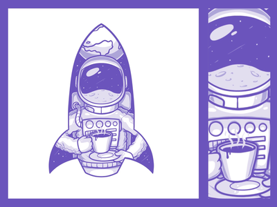 Space Coffee rocket moon astro astronaut coffee logo icon space