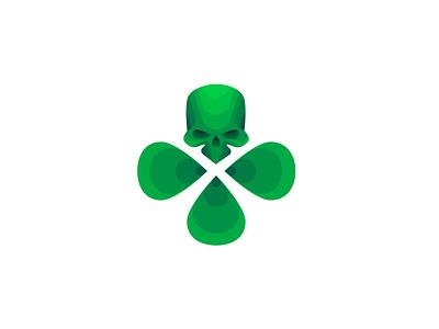 Luckybone green clover skull