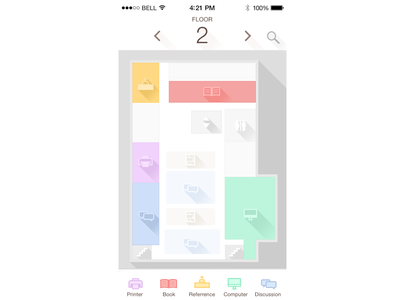 iOS App Interface shool building room study map interior map long shadow iphone library