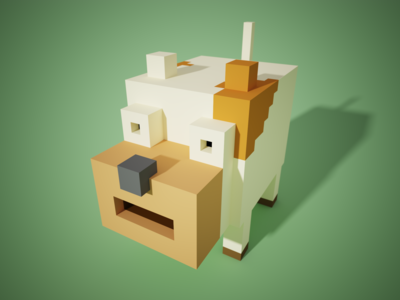 voxel art-cow