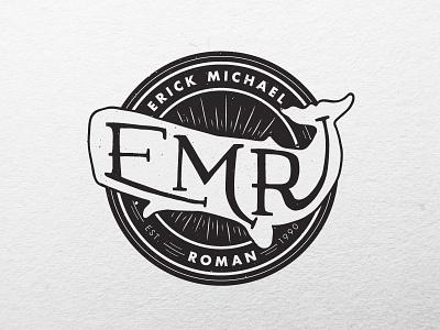 EMR Logo logo badge identity whale photographer black and white futura vintage retro typography custom type