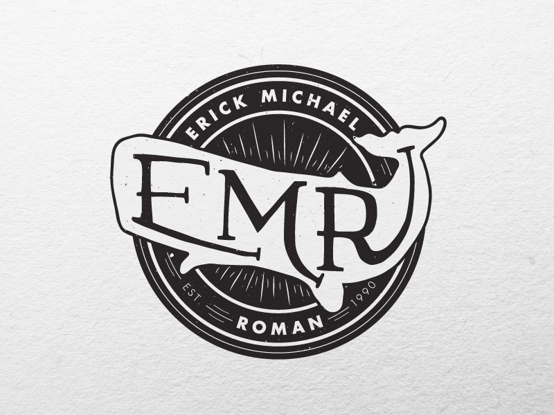 EMR Logo logo badge identity whale photographer black and white futura vintage retro typography custom type