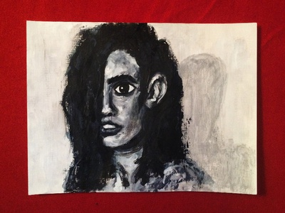 Paint?!!?! face girl illustration black and white portrait acrylic painting