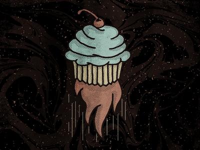 Intergalactic Cupcake rocket illustration texture space intergalactic dessert cupcake