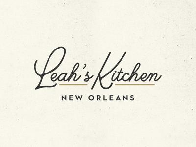 Leah's Kitchen script lettering typography louisiana new orleans food restaurant branding logotype identity mark logo