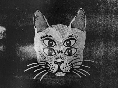 Intergalactic Cat black  white eyes grunge texture drawing illustration cat