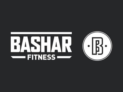 Bashar Fitness black and white branding fitness gym monogram secondary icon logotype identity logo