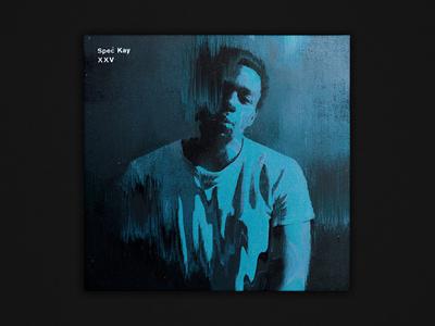 """Spec Kay –""""XXV"""" art direction typography layout portrait glitch rap hip hop music record cover album artwork"""