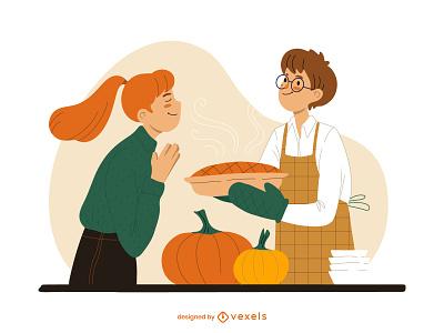 Mmmmmm... vector female art design character illustrator illustration chef cooking festive season pie pumpkin thanksgiving