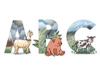 Alphabet: alpaca, bear, cow