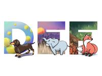 Alphabet: dog, elephant, fox