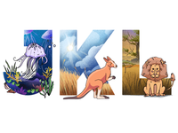 Alphabet: jellyfish, kangaroo, lion