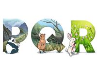 Alphabet: panda, quokka, rabbit