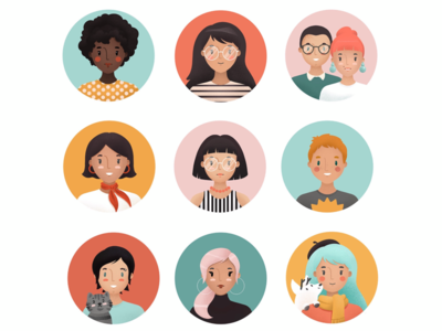 Icon character exercise. Do you know the girl with blue hair?