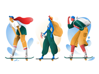 Three skaters