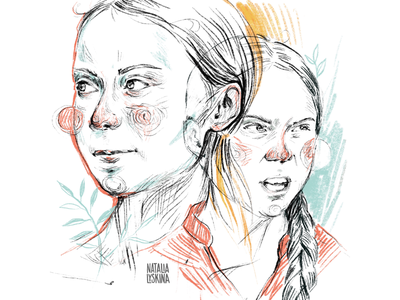 Greta Thunberg cover pencil graphic thunberg greta strike ecology climate editorial portrait article